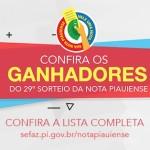 Sefaz divulga lista completa dos ganhadores do 29º Sorteio da Nota Piauiense