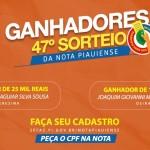 Consumidores de Teresina e Oeiras levam prêmios do 47º sorteio da Nota Piauiense