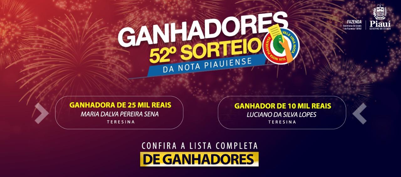 Sefaz realiza 52º sorteio da Nota Piauiense; veja lista de ganhadores