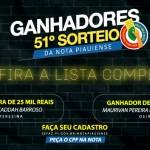 Confira a lista completa dos ganhadores do 51º sorteio da Nota Piauiense