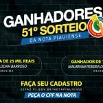 Veja os maiores ganhadores do 51º sorteio da Nota Piauiense
