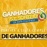 Sefaz divulga lista de ganhadores do 55º sorteio da Nota Piauiense